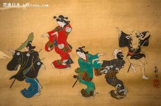 《歌舞伎舞蹈》(Dancing in a Kabuki Performance),Kaian (Megata Morimichi),1800s