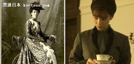 """左图:山川舍松,回国后嫁给大山将军,被誉为""""鹿鸣馆之花""""右图:日剧中的大山舍松"""